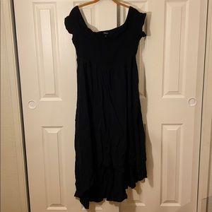 Torrid black smocked high low off shoulder dress